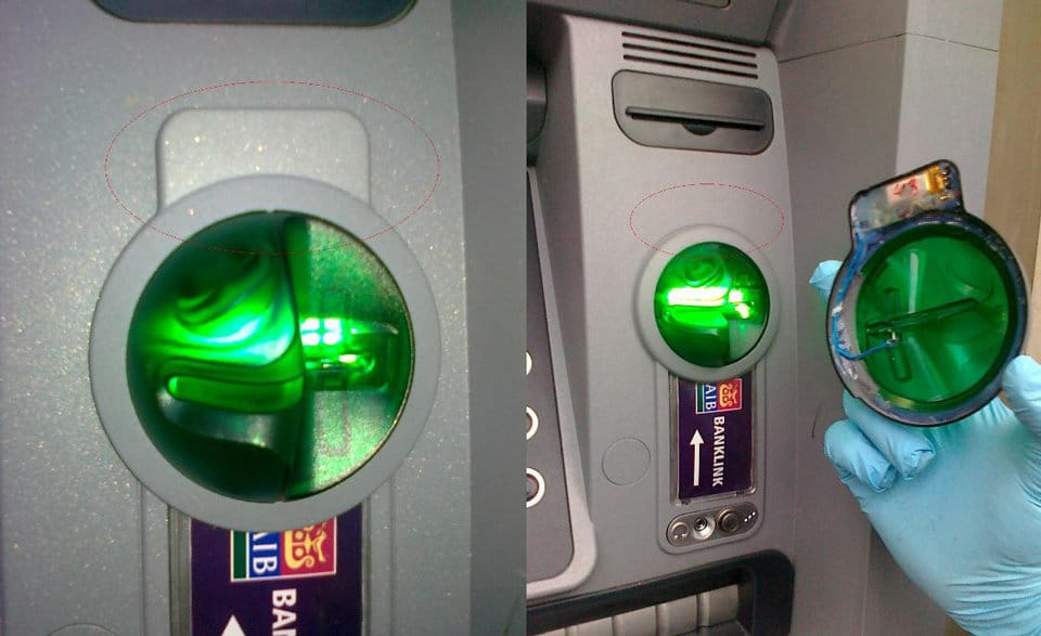a card skimmer attached to a fuel pump