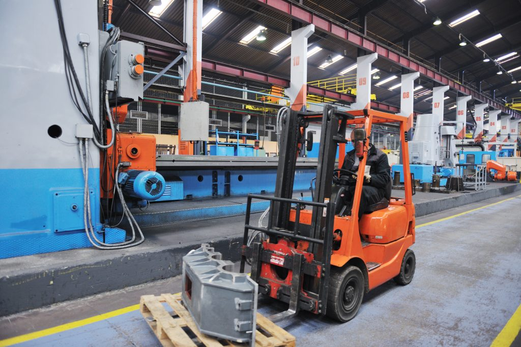 a forklift in a manufacturing plant